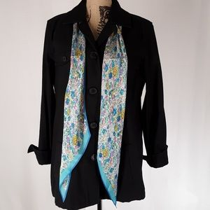 Gap   Black Painter's Jacket w/Floral Scarf (Sz L)